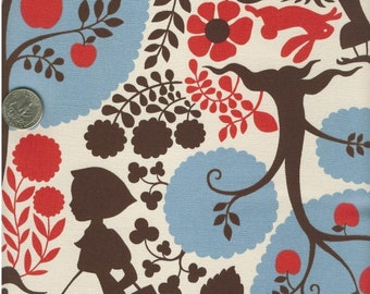 One Yard Japanese Cotton Fabric Canvas Silhouette Big Red Riding Hood Blue