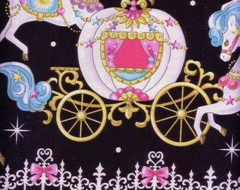 1.1 Yard Japanese Cotton Fabric Lolita Harajuku Magical Carousel Pony Merry Go Round Carriage Castle Border Black