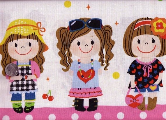 60 x 110 cm Japanese Cotton Fabric Cute Big Girl Border Polka Dots Sweets Pink