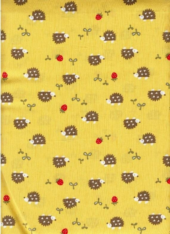 ONE YARD Japanese Cotton Fabric Project Kobayashi Hedgehog Yellow