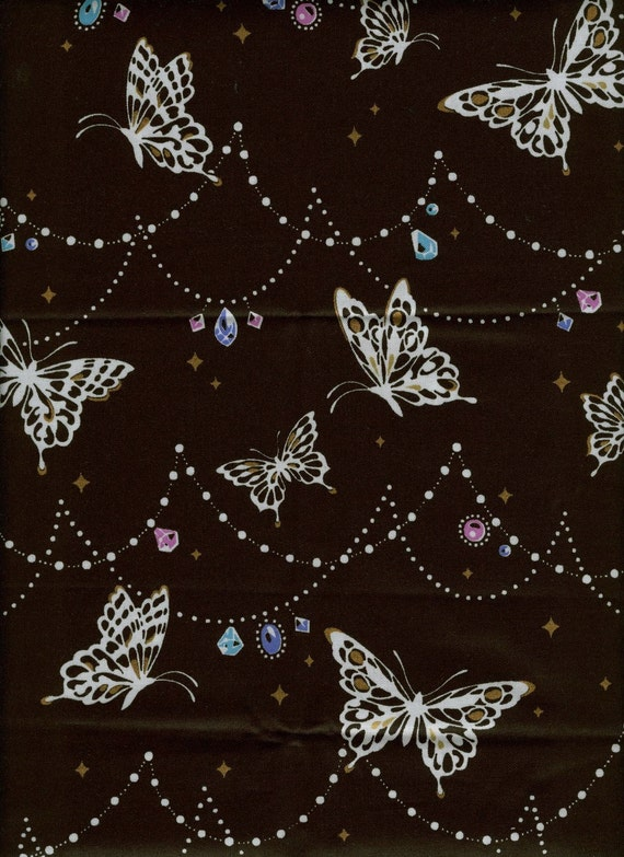 2 YARDS Japanese Cotton Fabric Cosmo Textile Butterflies Jewel Black