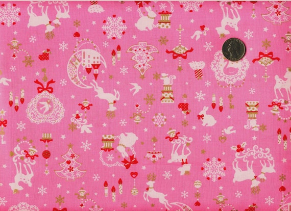 ONE Yard Japanese Cotton Fabric Christmas Deer Rabbit Swan Wreath Gold Details Pink
