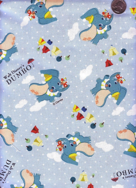 Half Yard Japanese Cotton Fabric Disney Dumbo Canvas Blue