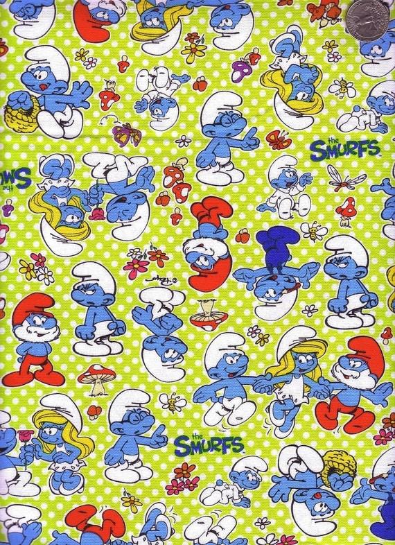 Half Yard Japanese Cotton Fabric Smurfs Pitufo Peyo Polka Dots Green