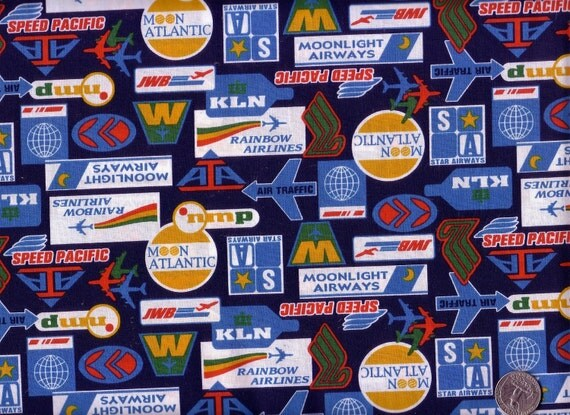 Half Yard Japanese Cotton Fabric Tags Labels Airlines Logo Navy