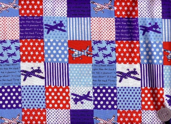HALF YARD Japanese Cotton Fabric Airplanes Planes Squares Patch Quilt Red