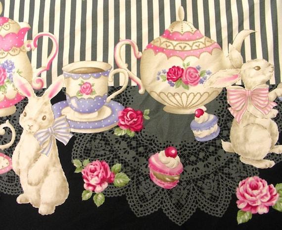 Two Yards Japanese Cotton Fabric  Lolita Harajuku Bunny Tea Party Rabbit Border Black