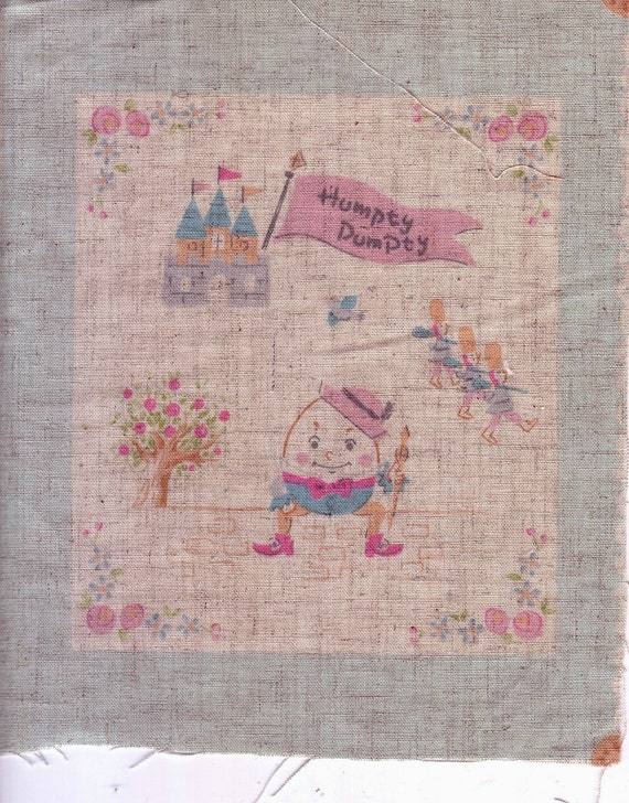 Set of 6 Small Panels Linen Blend Cotton Patchwork Quilt Nursery Tales Blue