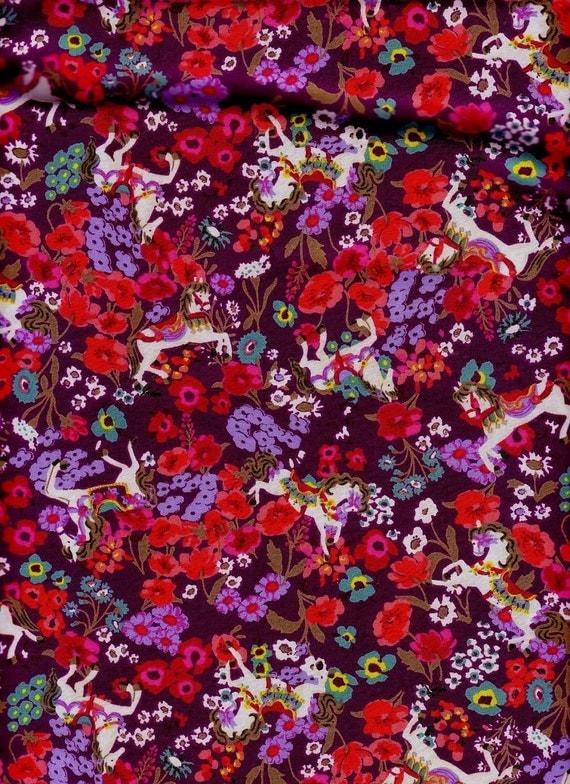 Half Yard Japanese Cotton Fabric Ponies Horses Peek A Boo in Meadow Flowers Colorful Purple