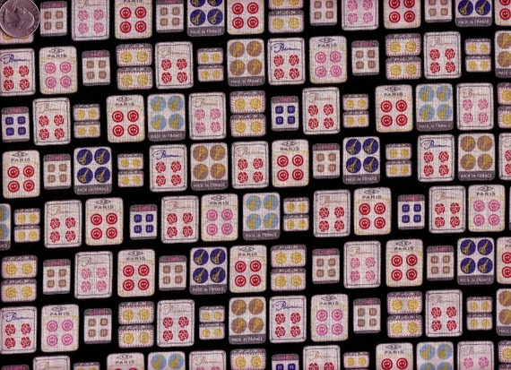 Last One Yard Japanese Cotton Linen Blend Fabric Sewing Buttons Squares Cards Black RESERVED for b
