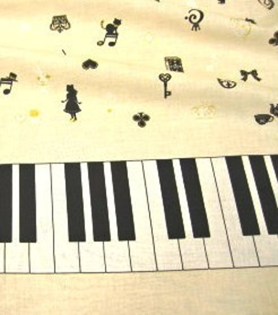 One Yard Japanese Cotton Cosmo Textile Fabric Border Alice Wonderland Piano Ivory