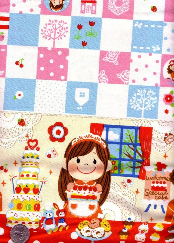 Half Yard Japanese Cotton Fabric Cute Girl Sweets Cake Party Polka Dots Border Red