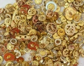 145 Gold Plastic Filigree Other Buttons Scrapbook Collage