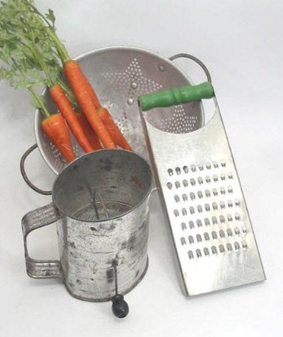 Vintage Kitchen Collection Grater Colander Sifter