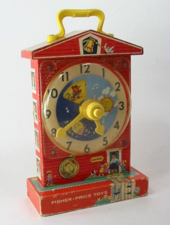 Vintage Fischer Price Music Teaching Clock Toy