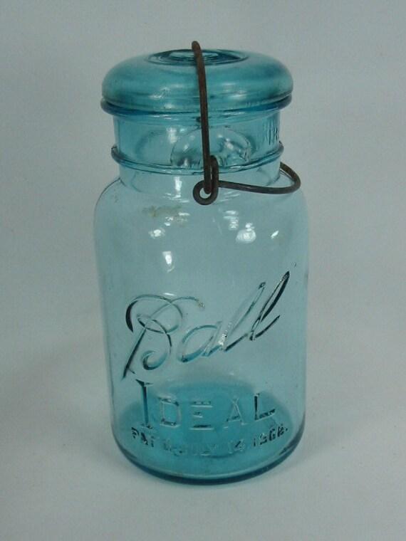 vintage blue ball perfect mason jar gladd lid. Black Bedroom Furniture Sets. Home Design Ideas