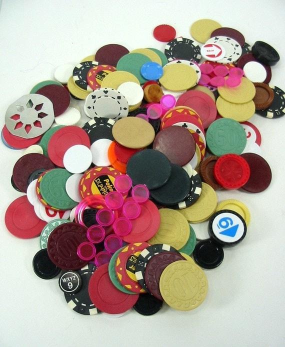 1 Pound Vintage  Poker Chips Discs Round Game Pieces