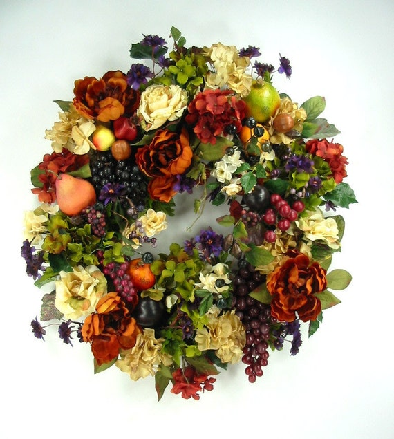 Tuscan Style Jewel Tone Fruit Floral Wreath by Ed The Wreath Guy