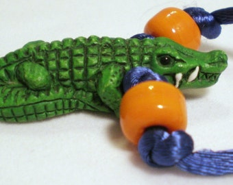 Gator Jewelry, Gator Gift, College Mascot Gift, Gator Necklace, Gator Rear View Mirror Charm