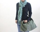 Black Friday 20% SALE // Express shipping - Mia in smoke green // messenger / diaper bag / School bag / laptop / tote / women / For Her