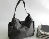 Back to school SALE 25%- Renee in Gray Diaper bag / Tote bag / Top Handbag /Purse / Hobo / Gift for her / women / School Bag / Canvas bag