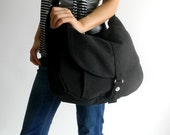 Back to school SALE 25% -Kylie in Black Messenger bag / Diaper bag / Shoulder bag /Tote bag / Purse / Handbag / Women / For her / School Bag