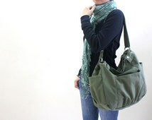 Back to school SALE 25%- Anna in Smoke green Messenger bag / diaper bag / School bag / cross body / Purse / canvas tote / women / For her