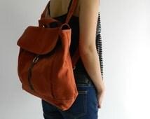 Tanya in Orange Pumpkin Backpack / Satchel Rucksack / Laptop bag  /Tote / Women/ Unisex  / School bag /Christmas in July  SALE 25% off
