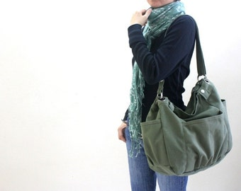 Anna in Smoke green Messenger bag / diaper bag/School bag/cross body / Purse / canvas tote / women / For her - Sale Sale Sale 30%