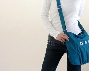 Sale 30% - Teal Messenger bag, Small shouldr bag, Diaper bag, Tote bag, Women hobo Cross body , Gift for her  / no.16 DENISE