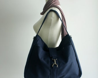 Sale Sale Sale 30% - Ashley in Navy Blue Messenger bag/Diaper bag/Canvas Tote bag/Purse/Handbag/ Women/Gift for her/ School bag