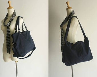 8th Anniversary 25% SALE + free gift  //Mia in Navy Blue //messenger/ diaper bag / School bag /Shoulder bag / laptop/ tote / women / For Her