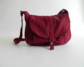 SALE 30% - Rose Red messenger bag,Canvas diaper bag ,Women shoulder bag,Cross body tote bag , Travel Handbag  / no.12 KYLIE