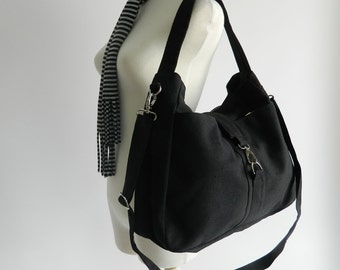 Sale Sale Sale 30% - Ashley in Black Messenger bags /Diaper bag/Tote bag/Purse/Handbag/Women/Gift for her/School bag/ canvas bag