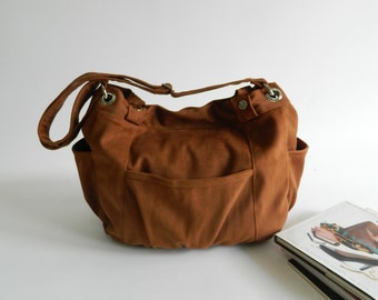 Brown cognac canvas Diaper bag , vegan messenger bag , women School bag , Travel Cross Body Purse ,tote bag for her / SALE 30% - no.13 ANNA
