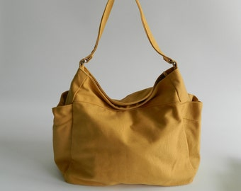 Renee Yellow Mustard Shoulder bag ,canvas tote bag,  Diaper bag , Purse ,women Handbag , School Bag-  30% - Sale Sale Sale