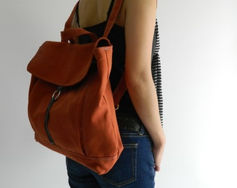 Tanya in Orange Pumpkin Backpack / Satchel Rucksack / Laptop bag  /Tote / Women/ Unisex  / School bag /Christmas in July  SALE 25% off