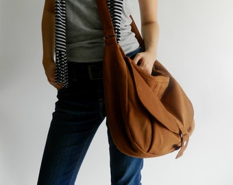SALE - 30% Cognac canvas Messenger bag, Shoulder bag,Diaper bag, Cross body purse, tote bag ,Gift for her,School Bag  / - no.12 KYLIE