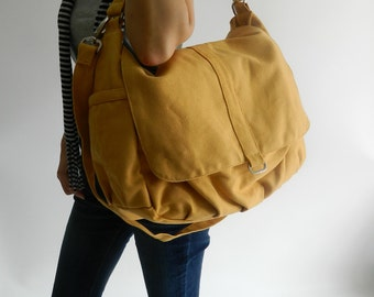 Mustard canvas messenger diaper bag, Women Crossbody handbag ,canvas zipper school bag, shoulder bag, Gift for her / Sale 30% - no.18 DANIEL