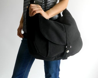 Black canvas messenger bag , Women diaper bag Cross body shoulder bag, School laptop tote bag ,Women canvas Purse / SALE - 30% - no.12 KYLIE