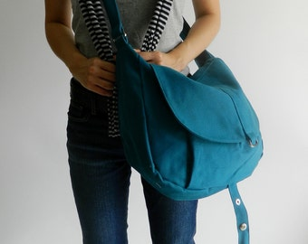 Big SALE 25%  Kylie in Teal Messenger bag / Shoulder bag / canvas Tote bag / Purse / Handbag / Women / Diaper bag / School Bag