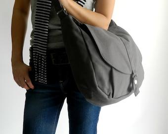 Back to school  SALE 25% - Kylie in Gray Messenger bag /Shoulder bag /Tote bag / Purse /Handbag /Women / For her / School Bag / Diaper bag