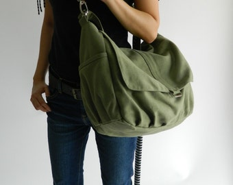 Sale 30% - Smoke green messenger bag,Women canvas shoulder bag, Handbag gift for her , cross body bag ,Diaper bag for Her / no.18 -DANIEL