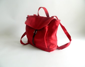 Sale Sale Sale 30% -Tanya in Red Canvas Backpack / Satchel Rucksack / Laptop bag /Tote/ Unisex /School bag/ Leather bag