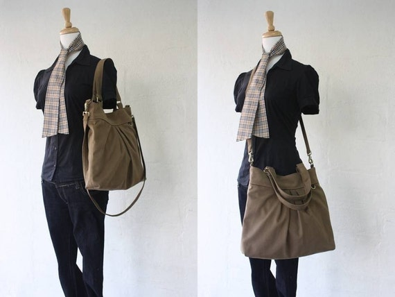 Spring SALE - The chotto tote / messenger in sahara brown