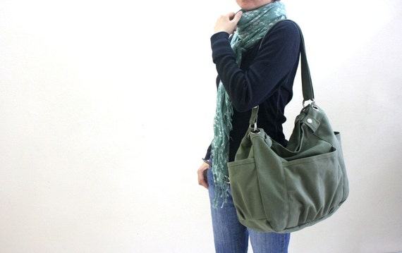 HAPPY NEW YEAR Sale  - 25% off // Anna in smoke green // messenger / diaper bag  /  Purse / tote bag / women / For her
