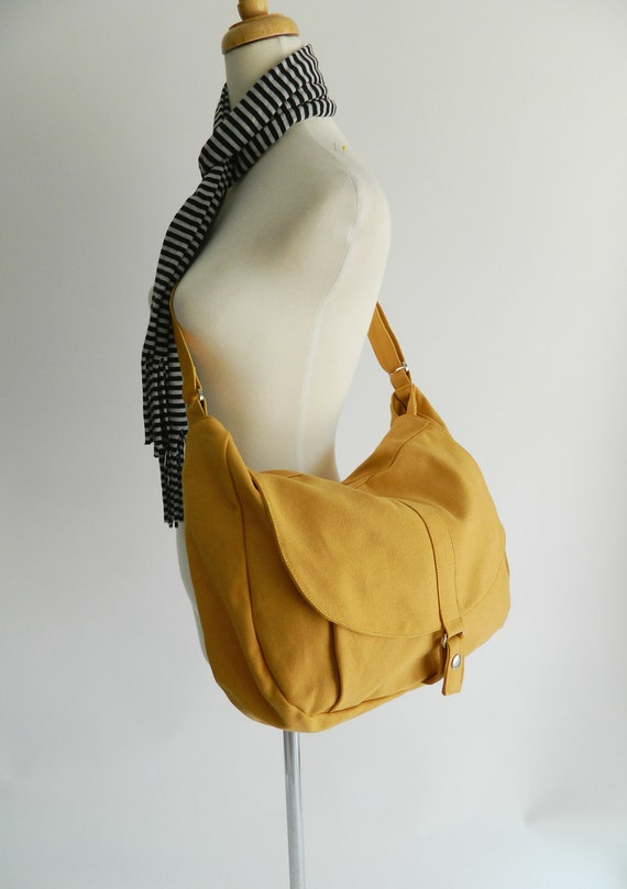 Canvas Messenger bag,Yellow Mustard Diaper bag,Shoulder bag,For Her,Tote bag,Purse,Handbag,Women,School Bag // Sale Sale Sale 30% - Kylie