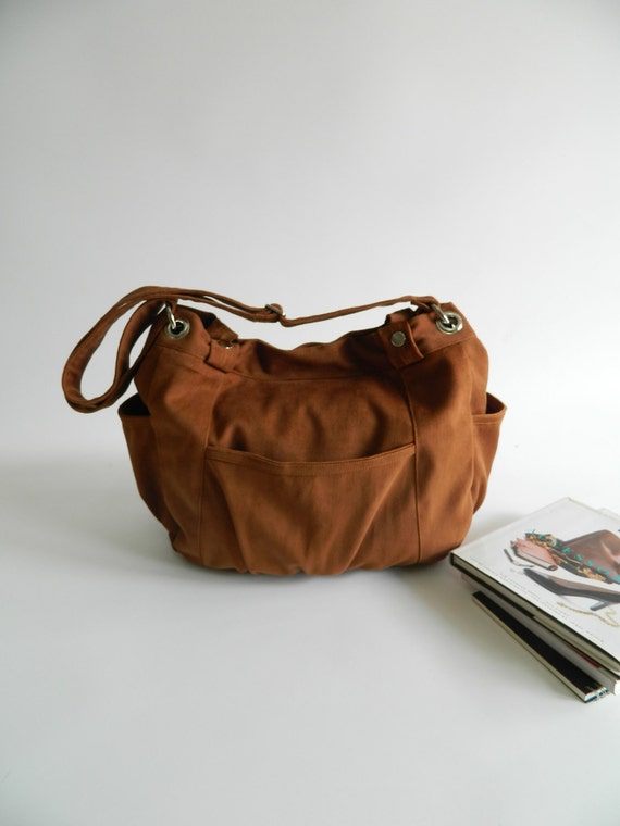 Anna in Cognac ,Canvas Diaper bag ,messenger bag , School bag , women Cross Body Purse ,tote bag for her - Christmas Sale 30%