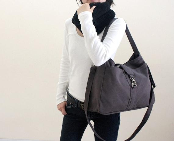 Ashley in Gray Messenger bags / Diaper bag / Tote bag /canvas Purse /Shoulder bag /Handbag/ Women/School bag - Sale Sale Sale 30%