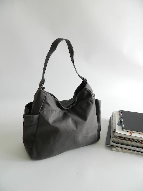Renee in Gray Diaper bag /Tote bag/Top Handbag/Purse/Hobo / Gift for her / women / School Bag / Canvas bag / Sale Sale Sale 30%
